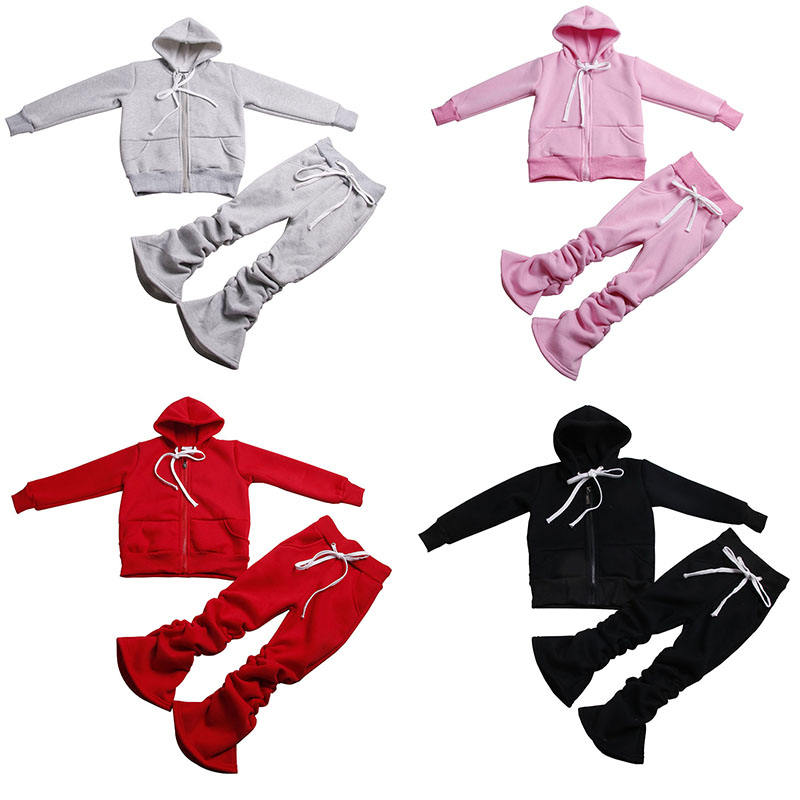 Fall Kids Zipper Sweatsuit Stacked Pants Fleece Hoodies Tracksuit Baby Girls Clothing Jogger Sets Winter Mommy And Me Outfits