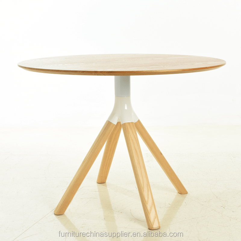 Modern original round glass and wood dining table for living room and restaurant