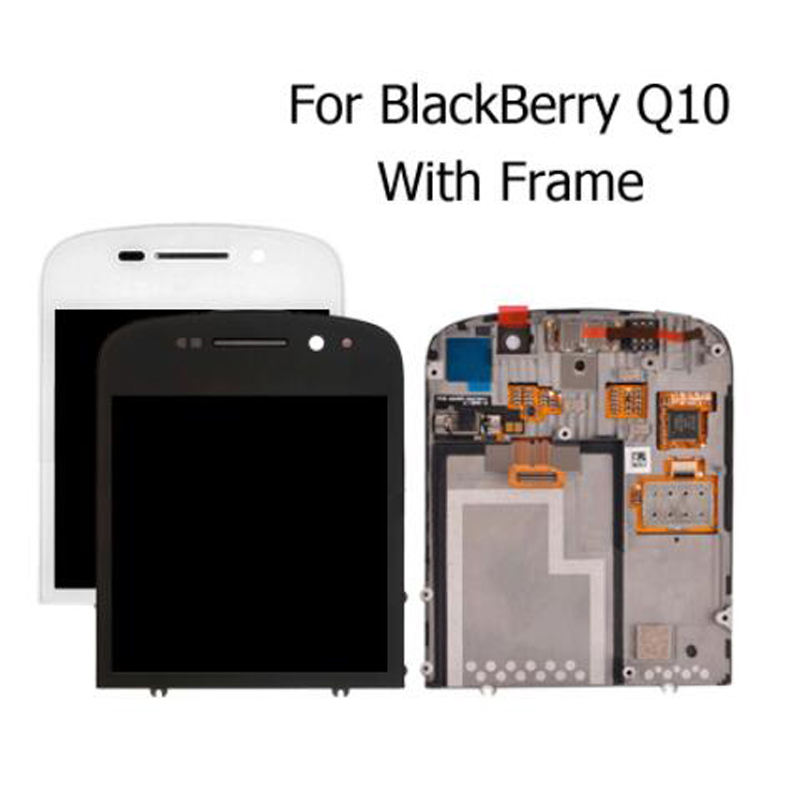 100% Tested 3.1''For Blackberry Q10 LCD Display Digitizer Touch Screen Assembly With Bezel Frame Full Assembly Repair Parts