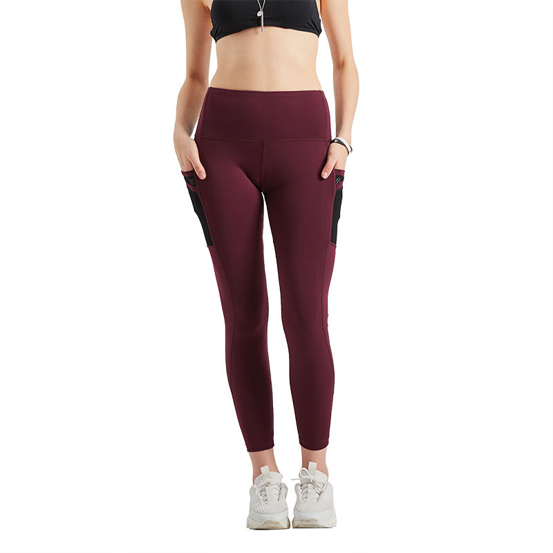 Sex Tight Slim Compression Running Yoga Leggings Pants With 2 Mesh Pockets