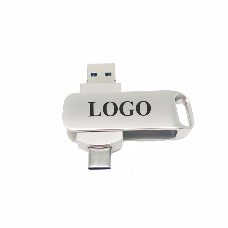Promotion Customize logo 2 in 1 Otg Metal Usb Flash Drive 16gb Type C Pendrive Usb 2.0 Flash Memory Sticker