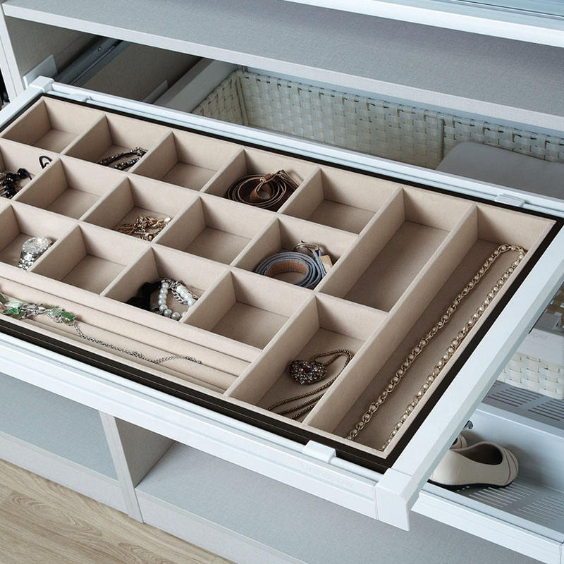 Mocca wardrobe cabinet accessories pull out sliding storage jewelry box tray with soft close