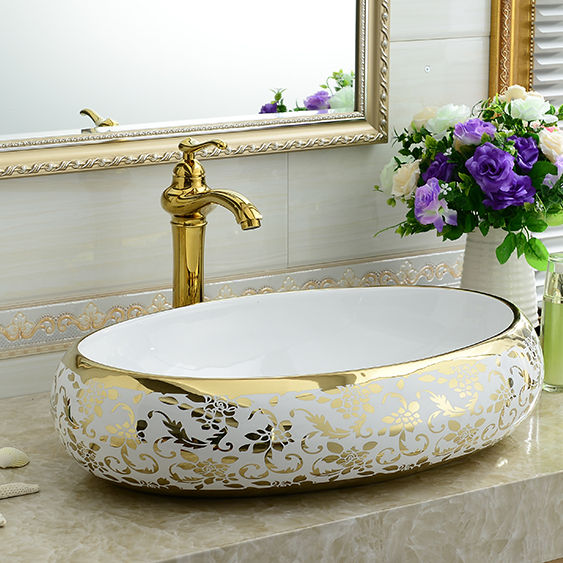 Counter tops basin KD-03GBE Ceramic wash basin golden plated bathroom sink