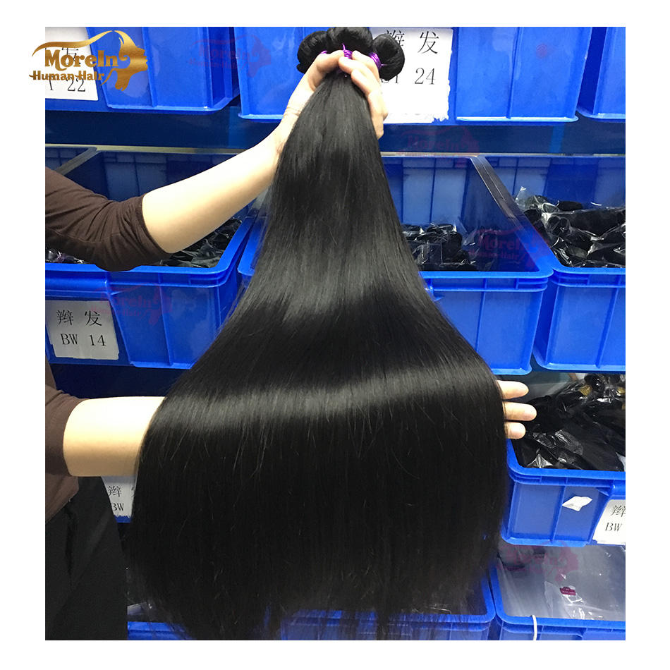 wholesale 100% Mink human brazilian virgin weave Straight Morein Hair 10A Grade three Bundle one human hair with closure