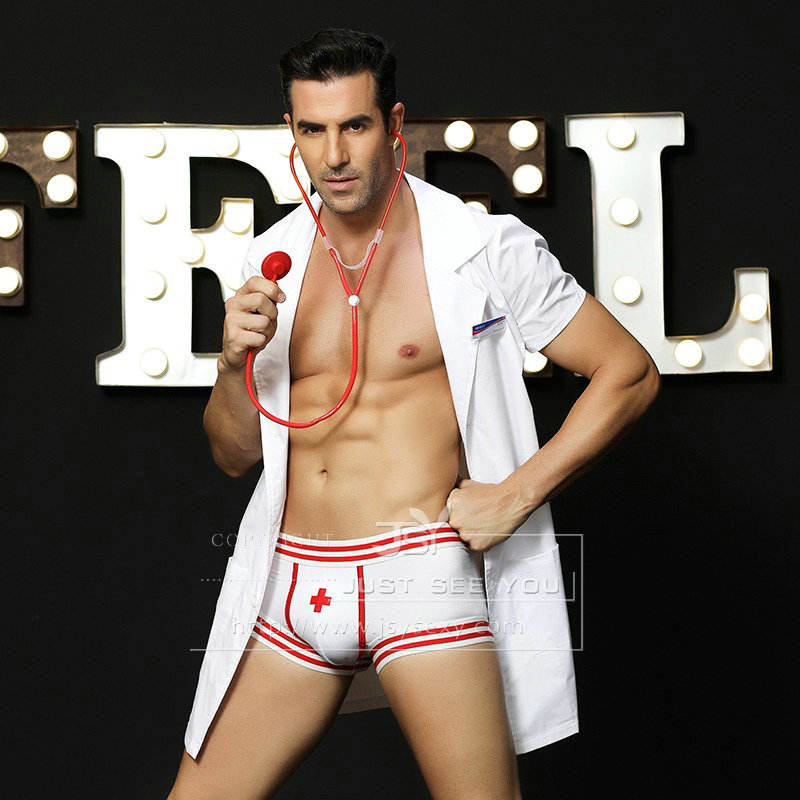 Sexy Men Doctor Uniform Costume Outfit Sexy Lingerie Badge Stethoscope Coat Short White Set Role Play Night Club 6602