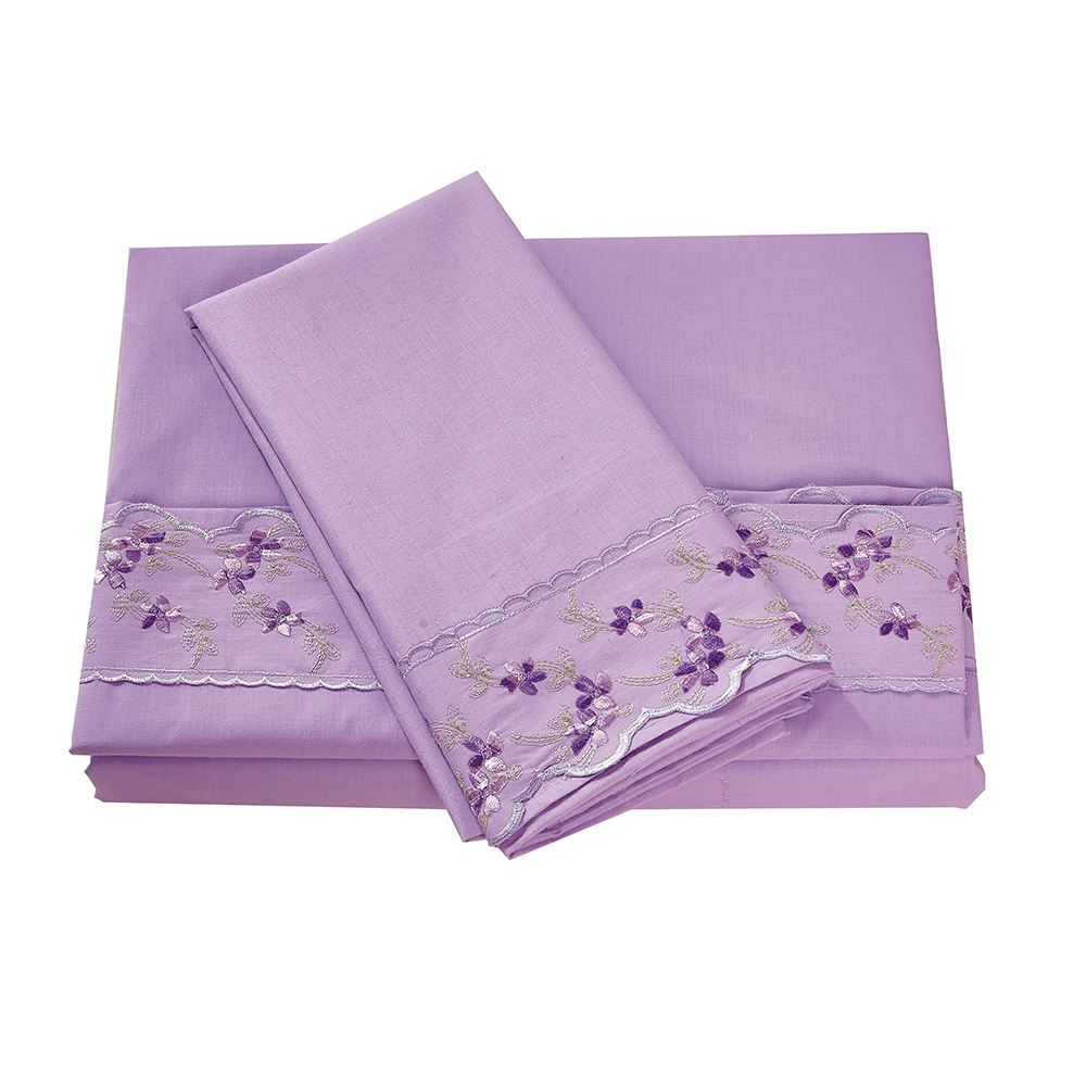KOSMOS Bedding Polycotton Lace Embroidery Bedsheet Bed Sheet Set