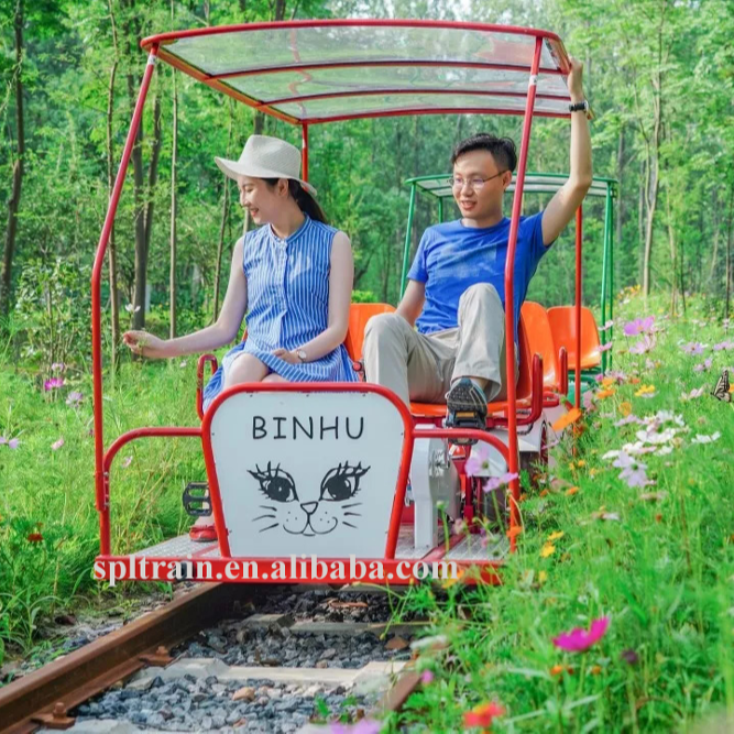 4 Seater 4 Wheel Entertainment Amusement Park Railroad Railway Surrey Tandem Quadracycle Bike Bicycle For Sale With Canopy