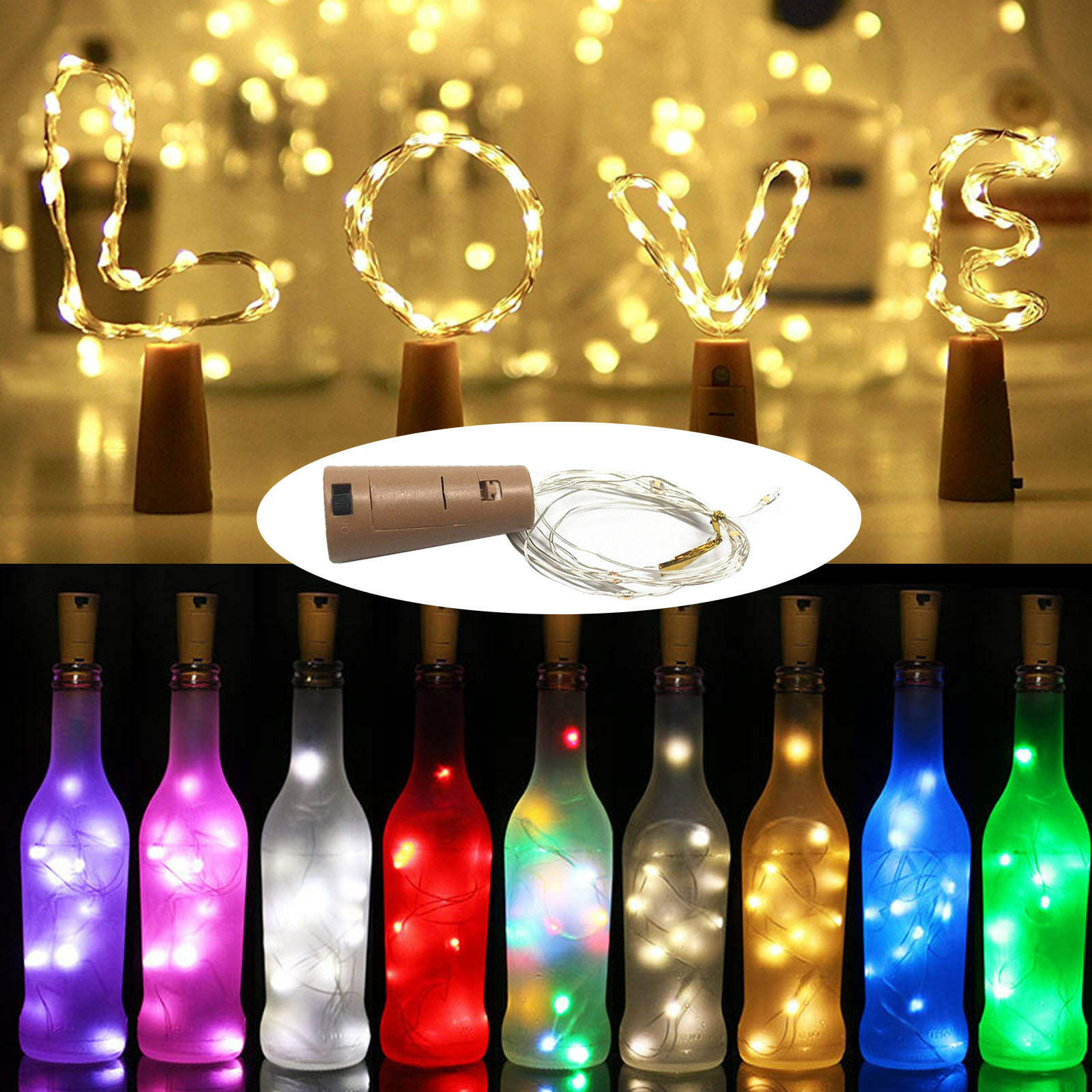 Cork Shaped Wine Bottle LED Silver Copper Wre String Light 1M 10LEDS LR44 Battery Powered For Glass Craft Xmas Party Decoration