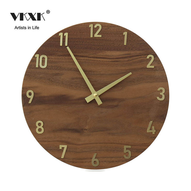 Japanese simple wall clock bedroom living room decoration creative design solid wood black walnut mute clock