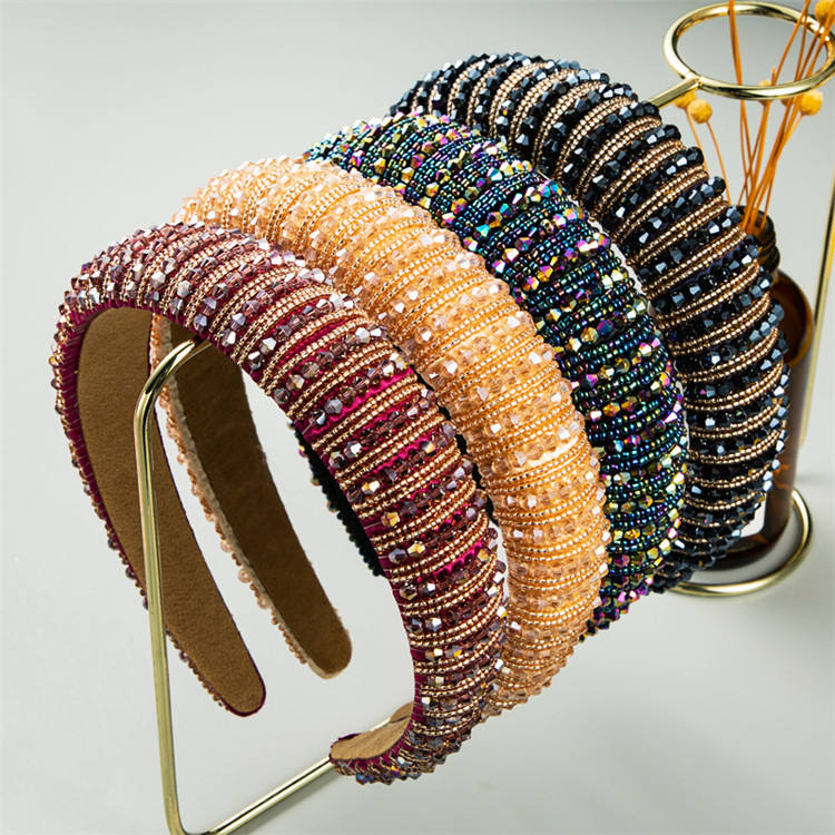 Hot Selling Wide Sponge Padded Headband Rhinestone Diamond Hair Bands Baroque Crystal Headbands