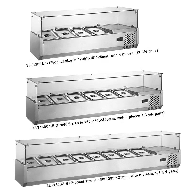 150cm Commercial Refrigeration Equipment Counter-top Refrigerator Prep Rail For GN Pans