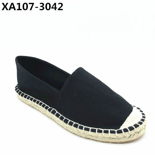 black textile upper lining and insole one jute espadrilles shoes comfortable and fashion style.