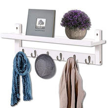 Wall-Mounted Wooden Hook Rack - Nordic Style Solid Pine Rack Coat Rack Shelf