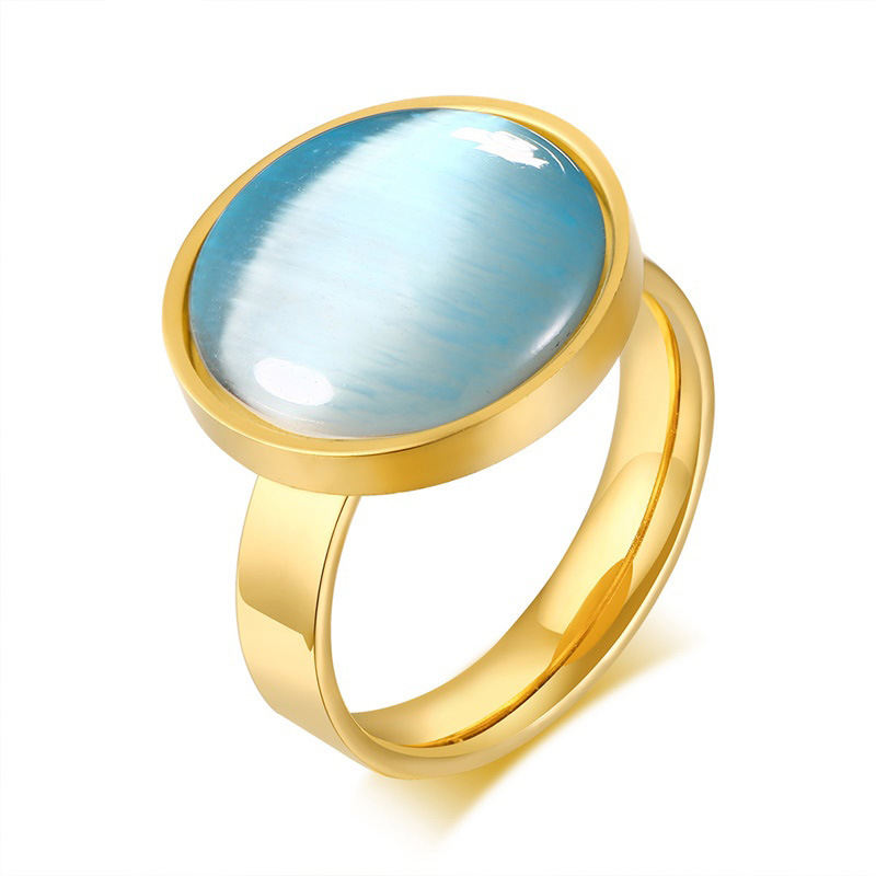 Japanese Korean style stainless steel opal plating gold small charm colorful ring for women