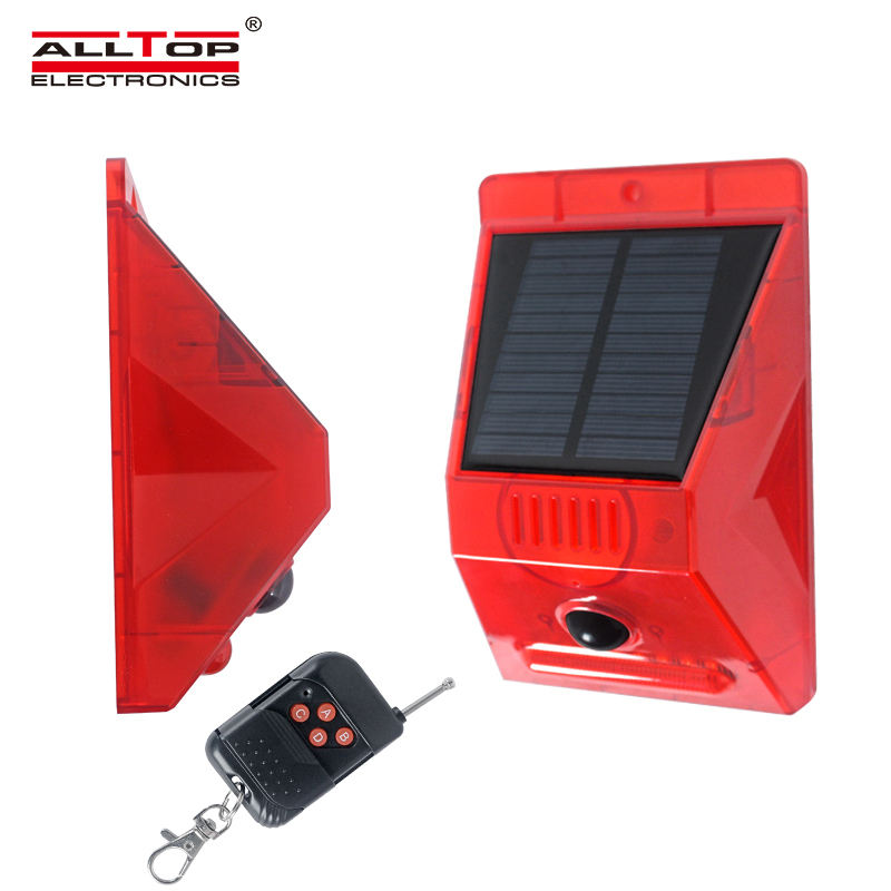 ALLTOP NEW design solar alarm with RF remote 129db siren solar home alarm system outdoor IP65 solar intruder alarm
