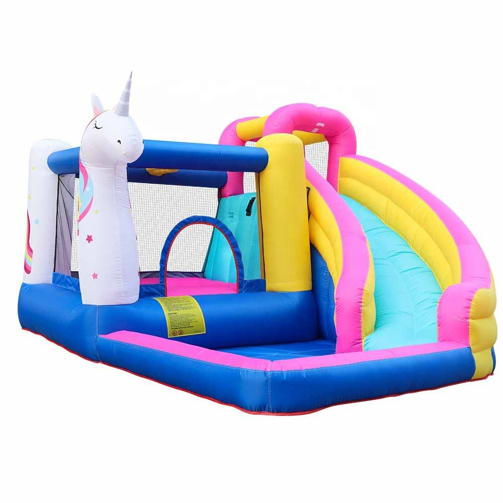 Commercial Character Playground Jumping Slide Bouncer Combo Inflatable Farm Bouncy Castle Unicorn Bounce House for Sale