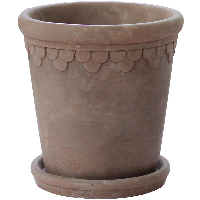 Rome Style Floral Border Big Cement Planting Pot with Tray