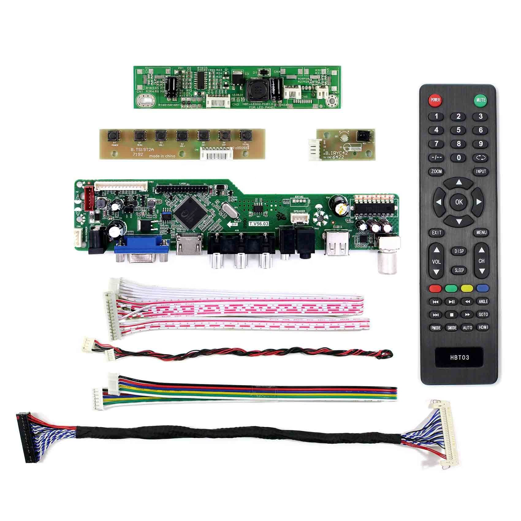 HDMI VGA AV USB RF LCD Controller Board T.V56.03 work for ccfl backlight 30pin lvds LCD 17inch 1440x900 B170PW01 V1
