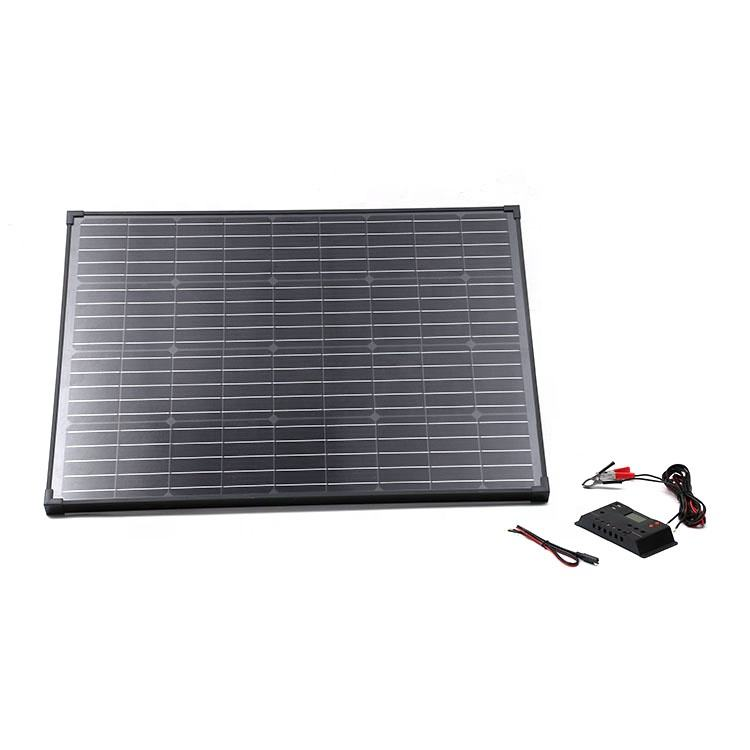 High efficiency Tempered glass PV Black monocrystalline 100 w rigid solar panel for camping