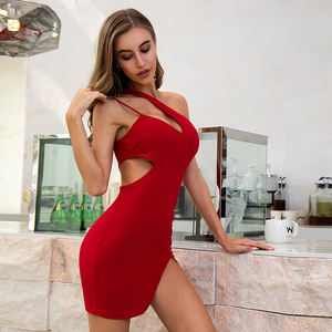 WEIXIN Dropshipping Sommer Frauen Kleidung Party Schulter Cut-Out Bodycon Sexy Mini Short Bodycon Kleid