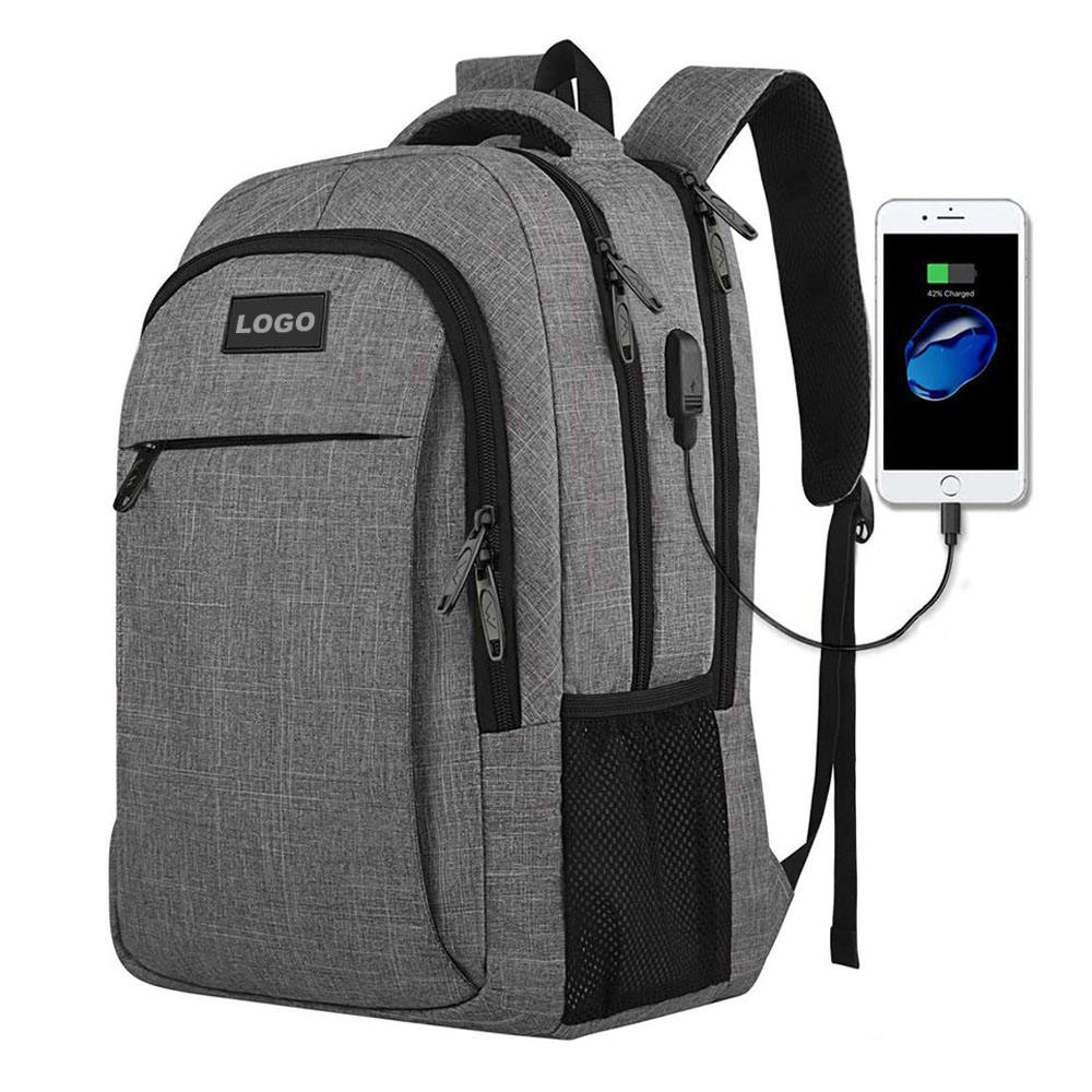 2020 New Arrival High Quality USB Backpack Waterproof Resistant Grey Backpack
