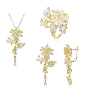 러시아어 Bridal Women 패션 925 Sterling Silver Jewelry Set