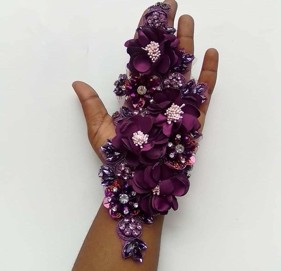 New Arrival Purple Embroidery 3d lace fabric chiffon 3d flower applique beaded motif