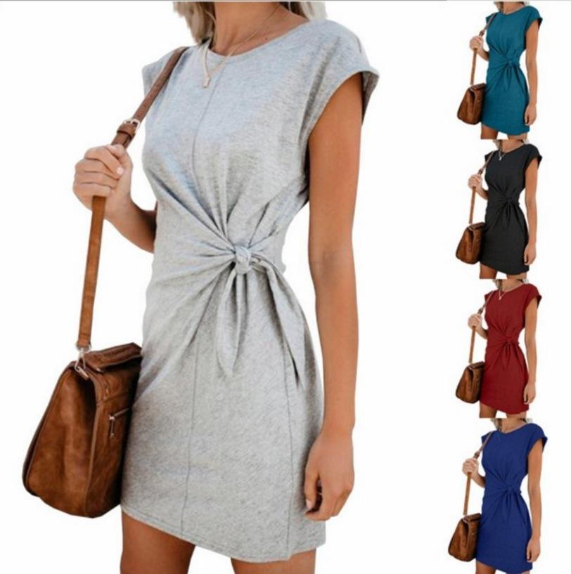 Wholesale Amazon Wish Hot Sell Women Crew Neck Self Tie Knot Casual Mini Dress