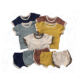 New design summer baby boy sets splice blank rib cotton short sleeve t-shirts and opening legging shorts kids outfits