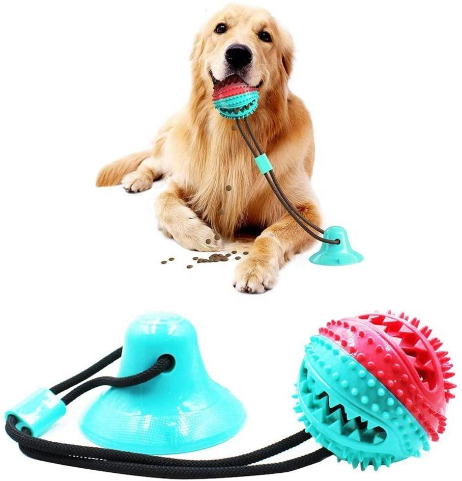 Suction Cup Dog Toy Interactive Pet Molar Bite Toy Self-Playing Rubber Chew Ropes Toys with Feeding Ball