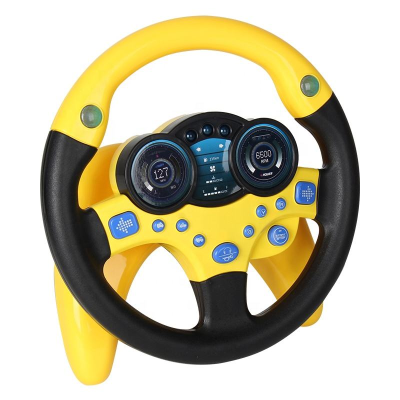 Fashion Kids Simulation Steering Wheel Toy For Car Seat Simulation Driving Toys With Light And Music