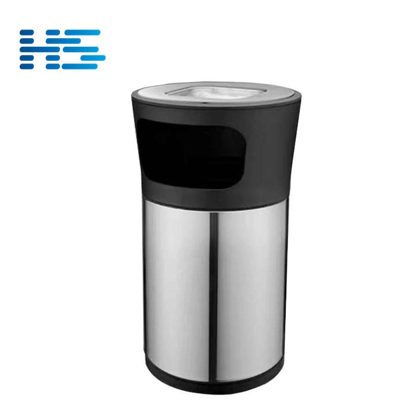 15L 20L 25L Stainless Steel Round Restaurant Outdoor Waste Bin With Ashtray HS4-3221