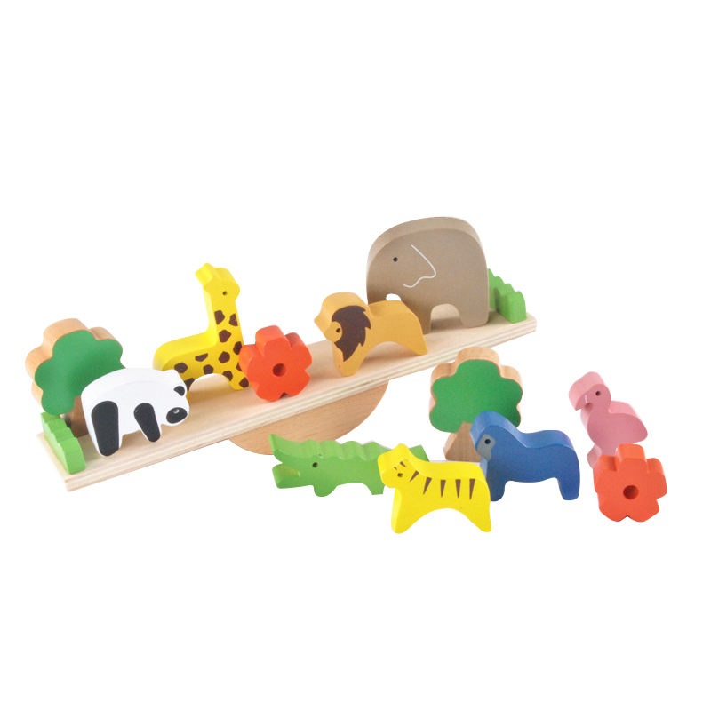 Wooden 3D Animal Balance Stack Seesaw Blocks Toy High Quality Wooden Animal Balance Seesaw Toy for Baby