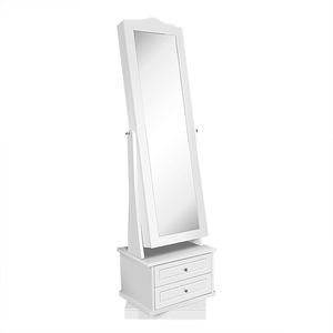 Floor Mirror Lockable Wooden White Jewelry Cabinet With Drawer