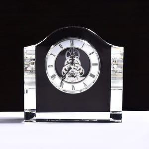 Laser Engraved Table Stand Crystal Clock Souvenir Gifts