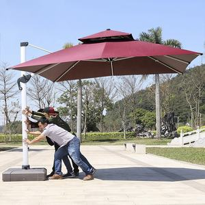 10 Feet Offset Cantilever Patio Umbrella Square Aluminum Frame Outdoor Hanging Umbrella with Water Filled Base