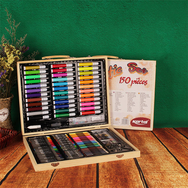 150 piece wood wooden box drawing art and craft brush watercolor pen and colour pencil kids art painting marker sets for kids