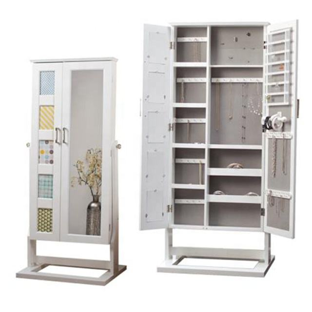 Floor standing Cheval Mirror jewelry armoire plans, traditional jewelry storage