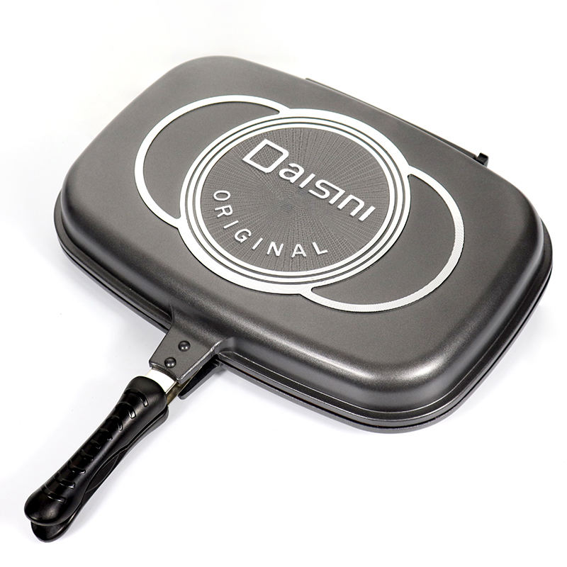 Die cast aluminum double grill fry barbecue square non stick double side grill fry pan