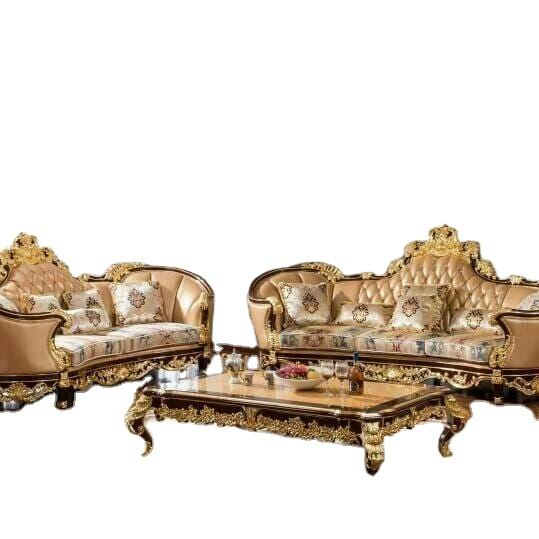 Italian classical luxury living room furniture wood carved royal sofa set