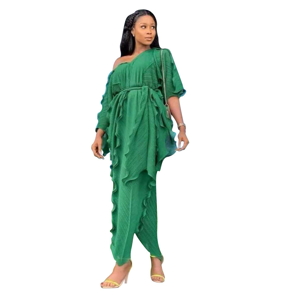 African casual dresses plus size dress africa clothing Deep V Neck Ruffed Sleeve Plain Color Casual Maxi african dresses