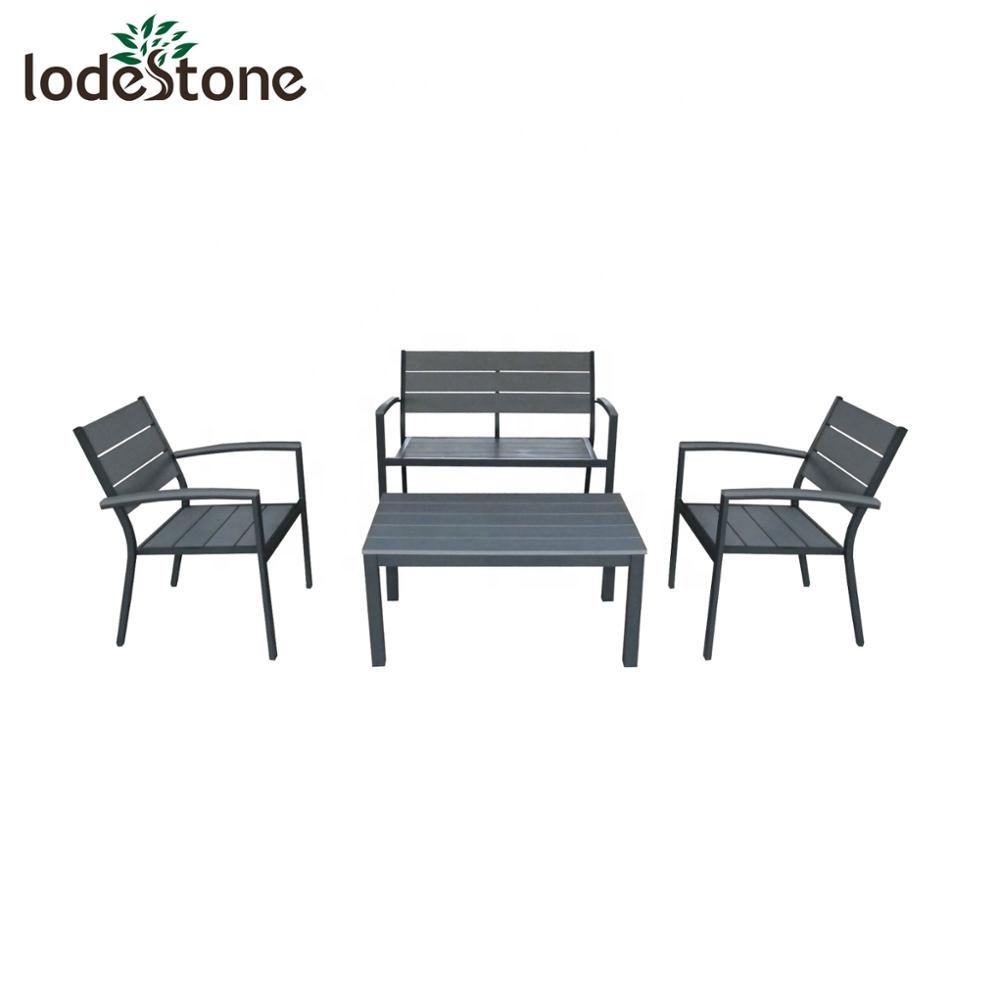 4pcs Hot Sale Aluminium Poly Patio Furniture Set Outdoor Aluminium Garden Sofa