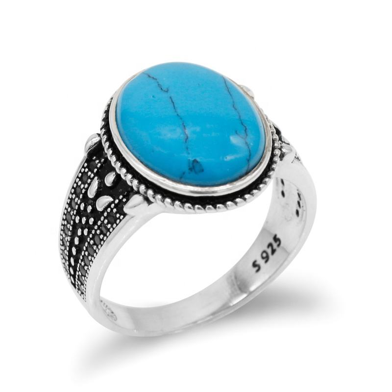 Turkish S925 Sterling Silver Blue Turquoise Men Ring with Black CZ,Handmade White Gold Plated Rings for Man Women Engagement