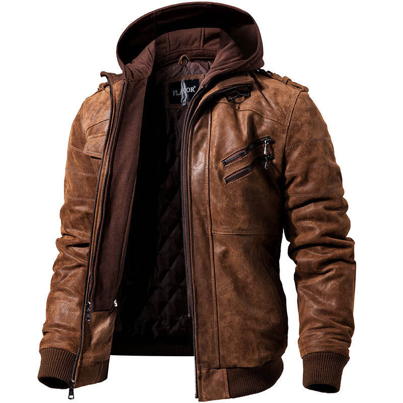 New foreign trade men's 5XL motorcycle leather jacket men's plus velvet hooded PU jackette for men