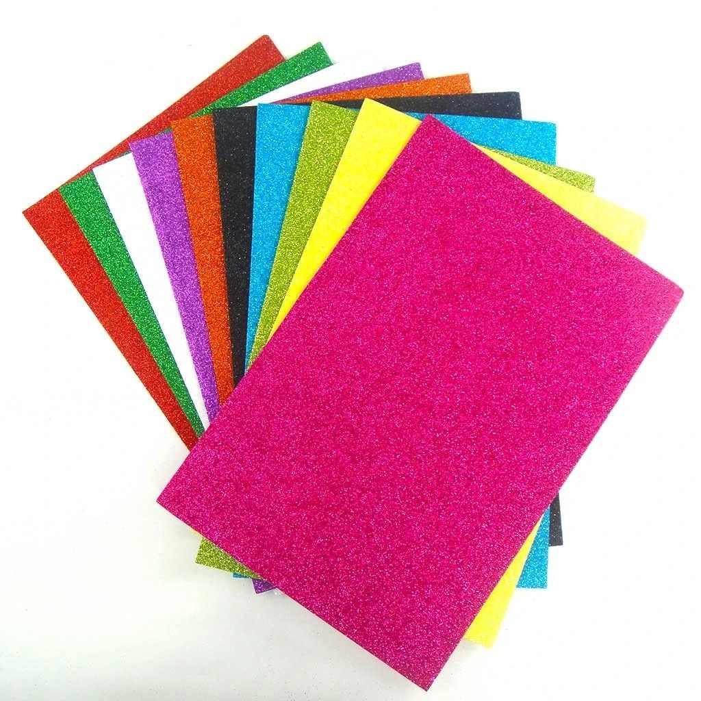 Wholesale color glitter self adhesive EVA foam sheet 2mm factory price