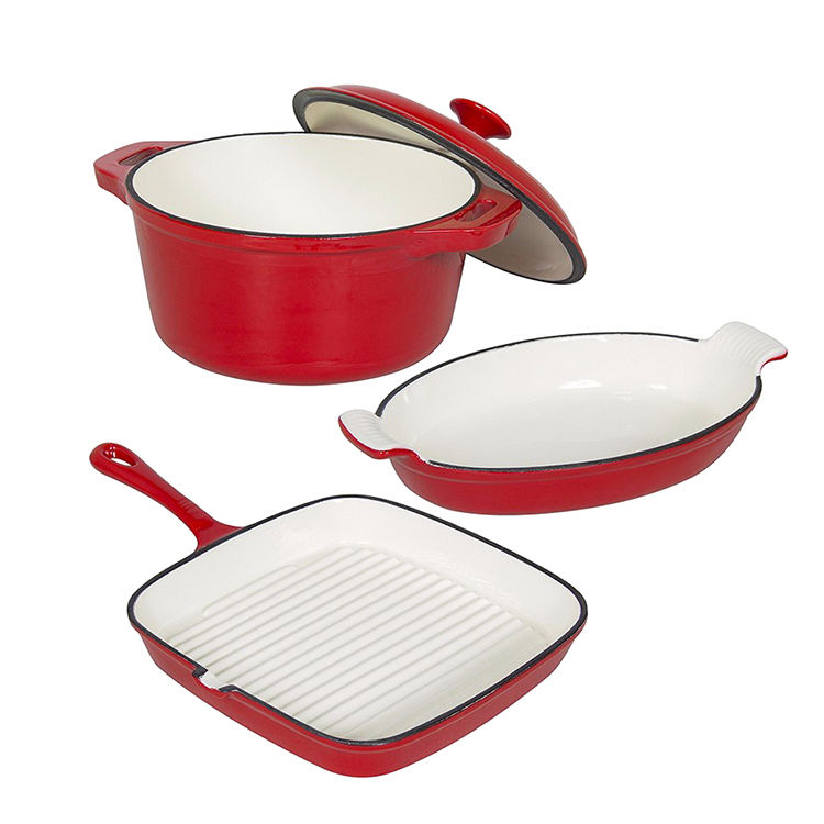 Hot Sale 3 Piece Cast Iron Enamel Cookware Set with pot and pan