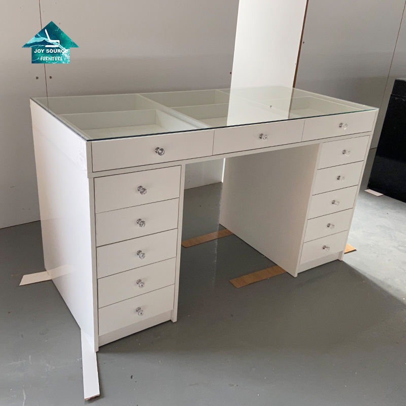 Hot Sale White color Corner hollywood vanity makeup table with mirror wholesale
