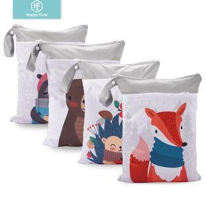 Happyflute 30*40cm double pocket diaper wet bags waterproof portable cloth diaper bag