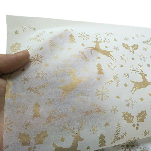 Eco-friendly custom gold foil LOGO wrapping tissue paper Christmas Eva gift present paper box candy packing paper sheet