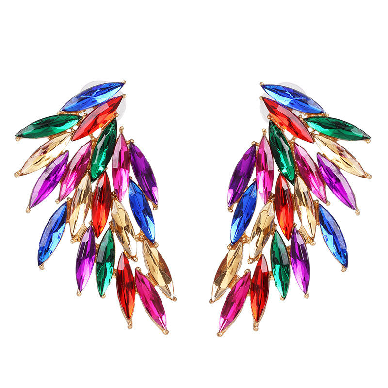 E368 Hot Sale Colorful Rhinestone Stud Earring Crystal Wing Earring